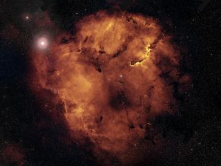 обои Огненная туманность в звездном космосе фото
