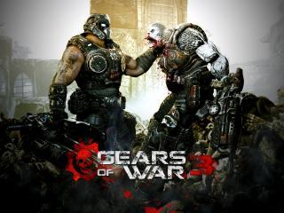 обои для рабочего стола: Gears of war 3,   сражение двух сил