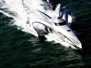 обои Яхта в волнующемся море фото