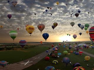 обои Разноцветные воздушные шары в небе фото
