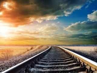 обои Железная дорога  на закате фото