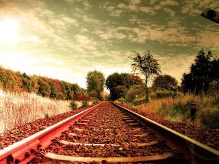 обои Железнодорожное полотно и симофор фото