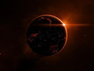 обои Планета в багровом закате фото