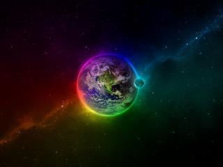 обои Планета земля в космической  бездне фото