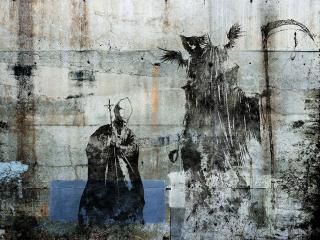 обои Риунок папа римский и смерть с косой фото