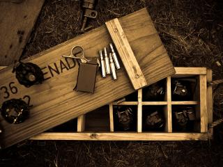 обои Деревянный ящик с патронами фото