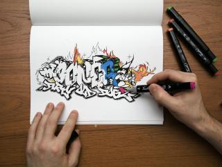 обои Граффити на бумаге,   руки и маркеры фото