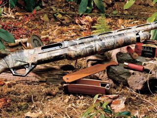 обои Охотничье ружье на камне в лесу фото