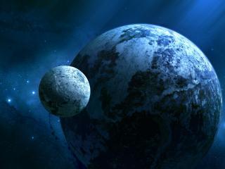 обои Планета со спутником фото