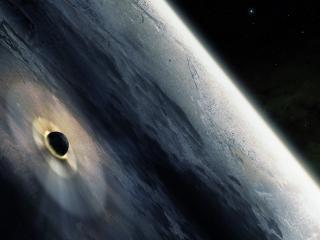 обои Падение спутника на планету фото