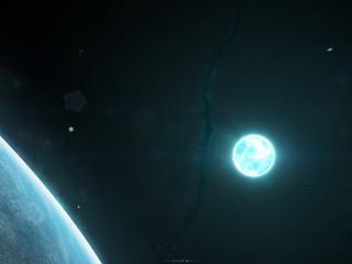 обои Планета и ее спутник в галактике фото