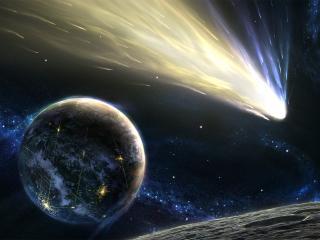 обои Планета и хвост падающей звезды фото