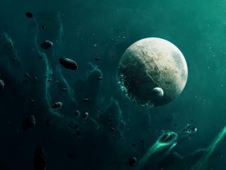 обои Планета под астероидным дождем фото