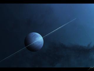 обои Планета с астероидным кольцом и спутником фото