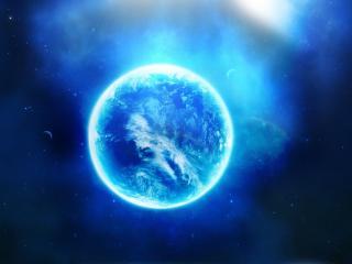 обои Планета с голубым свечением фото