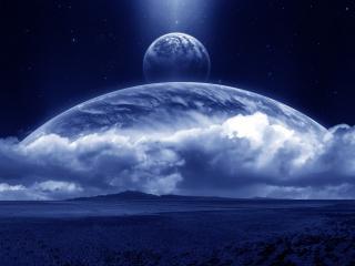 обои Приближение к огромной планете фото