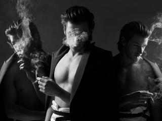 обои Мужчины с сигаретами и дымом фото