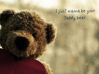 обои Медвежонок с сердечком и надпись фото