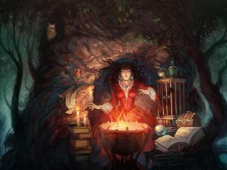 обои Ведьма у котла в лесу фото