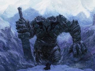 обои Великан воин с мечем в горах фото