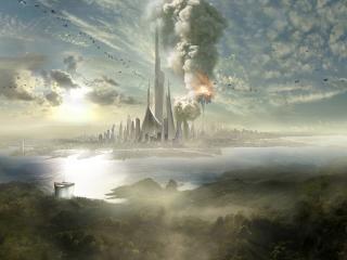 обои Взрыв в городе будущего фото