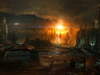 обои Вид вечернего инопланетного города фото