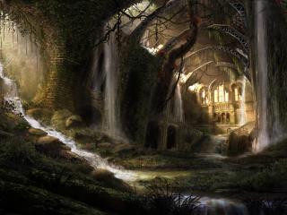 обои Водопад на руинах фото