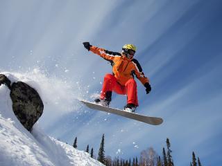 обои Сноубордист в прыжке фото
