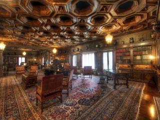 обои Интерьер библиотеки в ретро стиле фото
