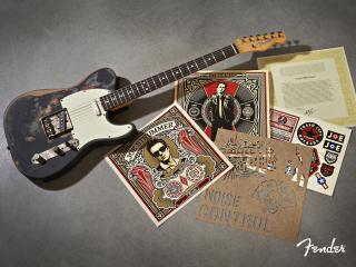 обои Потертая гитара и картинки фото