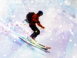 обои Лыжник на спуске фото