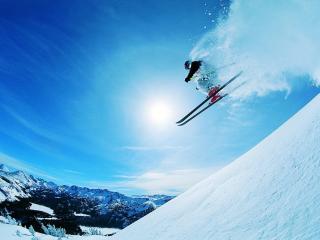 обои Прыжок лыжника фото