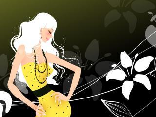 обои Блондинка в желтом платье фото