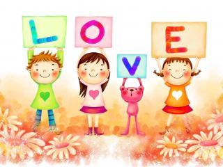 обои Любовь в рисунках детей фото