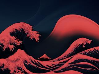 обои Океан и красные волны фото