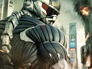 обои Crysis 2,   воин в нанокостюме фото