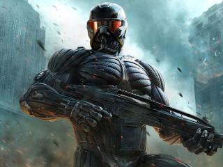 обои Crysis 2,   воин с автоматом в нанокостюме фото