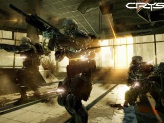 обои Crysis 2,   спецназовцы в нанокостюме фото