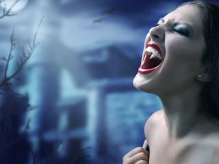 обои для рабочего стола: Девушка вампир
