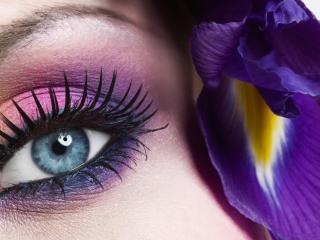 обои Макияж глаза - Розовые и фиолетовые тени в сочетании, с черной подводкой фото