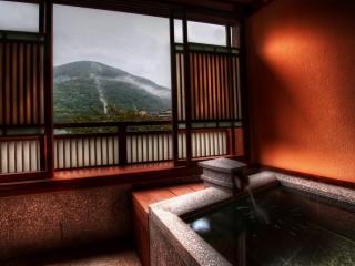 обои Ванная вид из окна на горы фото