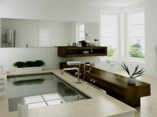 обои Светлая декорированная ванна фото