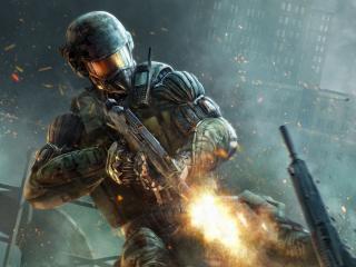 обои Crysis 2,   огонь из автомата фото