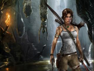 обои Lara croft,   лара крофт в пещерах фото