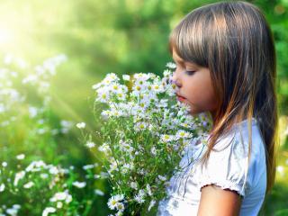 обои Девочка с цветами фото