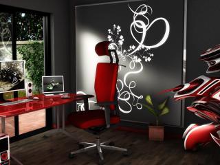 обои Рабочий кабинет с красной мебелью фото