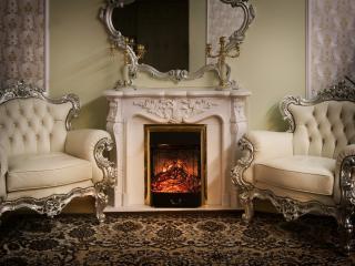 обои Кресла белые у камина фото