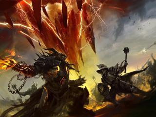 обои Битва монстров с рыцарями фото