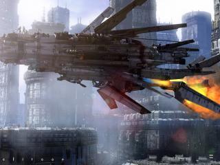 обои В городе летающий корабль фото