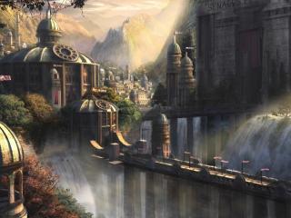 обои Водопад у дворца фото